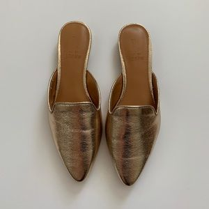 J.Crew Gold Mules Size 6 NWT
